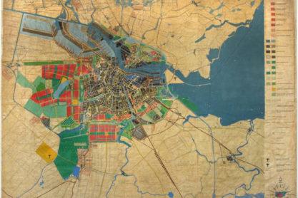Kaart van het Algemeen UItbreidingsplan van Amsterdam (AUP), Dienst der Publieke Werken, 1935.