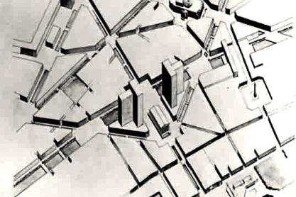 Prijsvraaginzending C. van Eesteren en L.G. Pineau. Continuité vormde een voortzetting van het ontwerp met boulevards van Haussmann, daterend uit de jaren '50 van de negentiende eeuw. Om plaats te maken voor wegen en parkeergelegenheid, voegde Van Eesteren hoogbouw toe. Tekeningen uit september 1926. Collectie EFL Stichting.