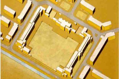 C. van Eesteren, woonwijk Molensloot, Den Haag; 1928. Axonometrie van de scholen en de omringende woonbebouwing. Collectie EFL Stichting.
