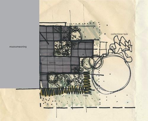 Schets voor de Van Eesteren Museumwoningtuin, door landschapsarchitect Mirjam Koevoet