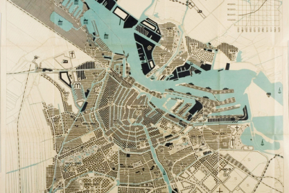Amsterdam; groei van de bevolking, 1933, 1:10.000. De kaart behoort tot de presentatie bij het vierde CIAM congres; 1933.