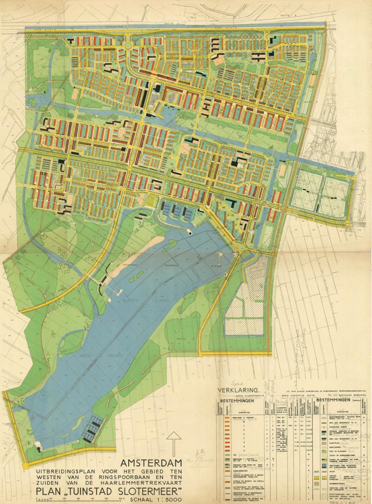 Eerste Plan voor de Tuinstad Slotermeer en de Sloterplas; 1939. Na de Tweede Wereldoorlog werd in 1952 een gewijzigd plan gemaakt. Kaart: Dienst der Publieke Werken.