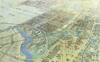 Vogelvlucht AUP Buitenveldert gezien naar het Zuidwesten. Op de voorgrond een deel van Plan Zuid van Berlage. Er achter de toekomstige Tuinstad Buitenveldert. Links de Amstel; 1935. Kaart: Dienst der Publieke Werken.