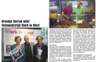 Broodje Berrak wint fotowedstrijd 'Werk in West'. Uit: de Westerpost van 27 augustus 2014.