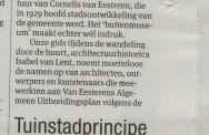 Recensie Architectuurwandeling Slotermeer. Het Parool; 27 augustus 2014.