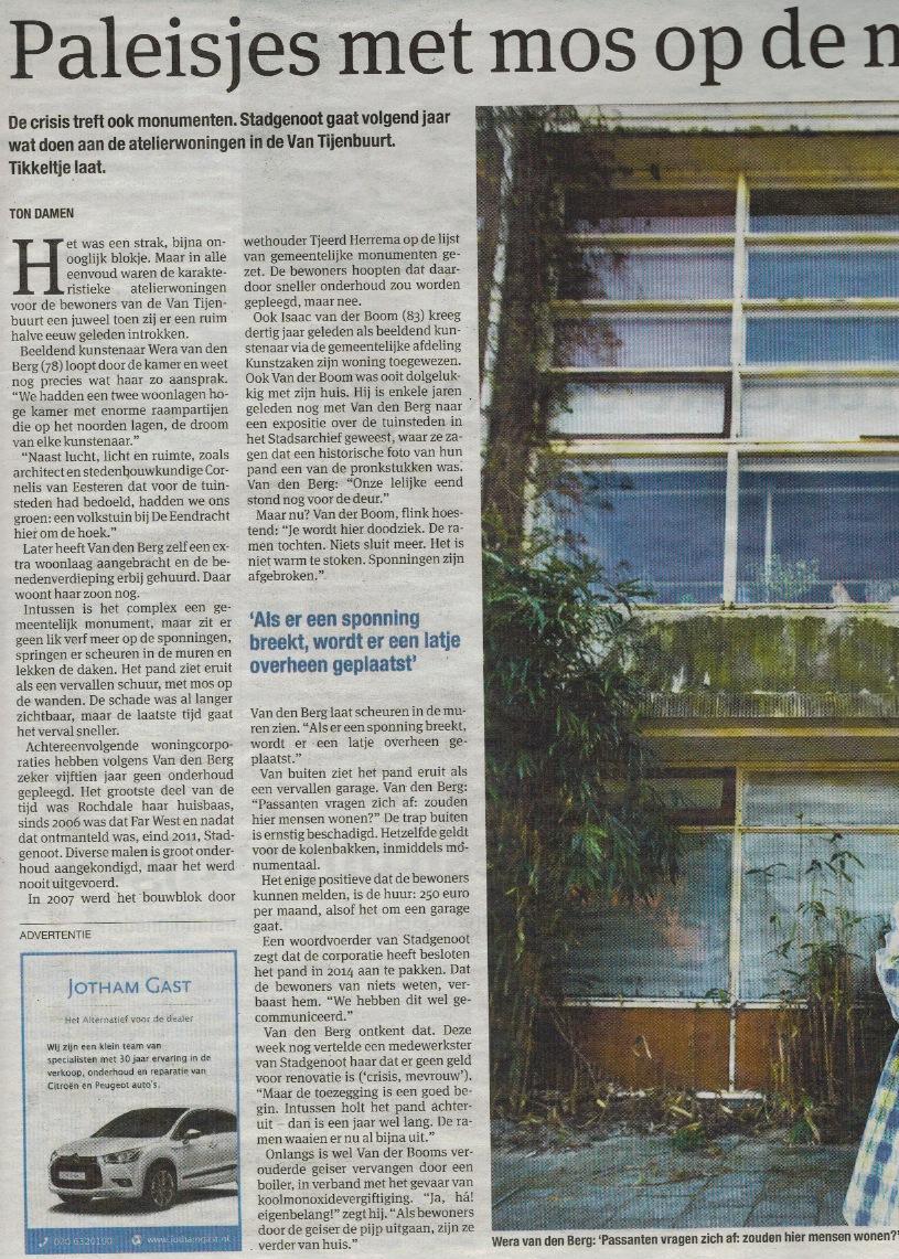 """Paleisjes met mos aan de muur'. Het Parool, april 2013."