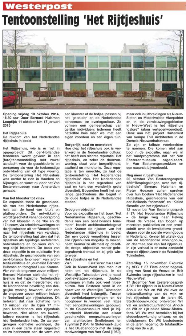 Tentoonstelling 'Het Rijtjeshuis' Uit: de Westerpost van 8 oktober 2014.
