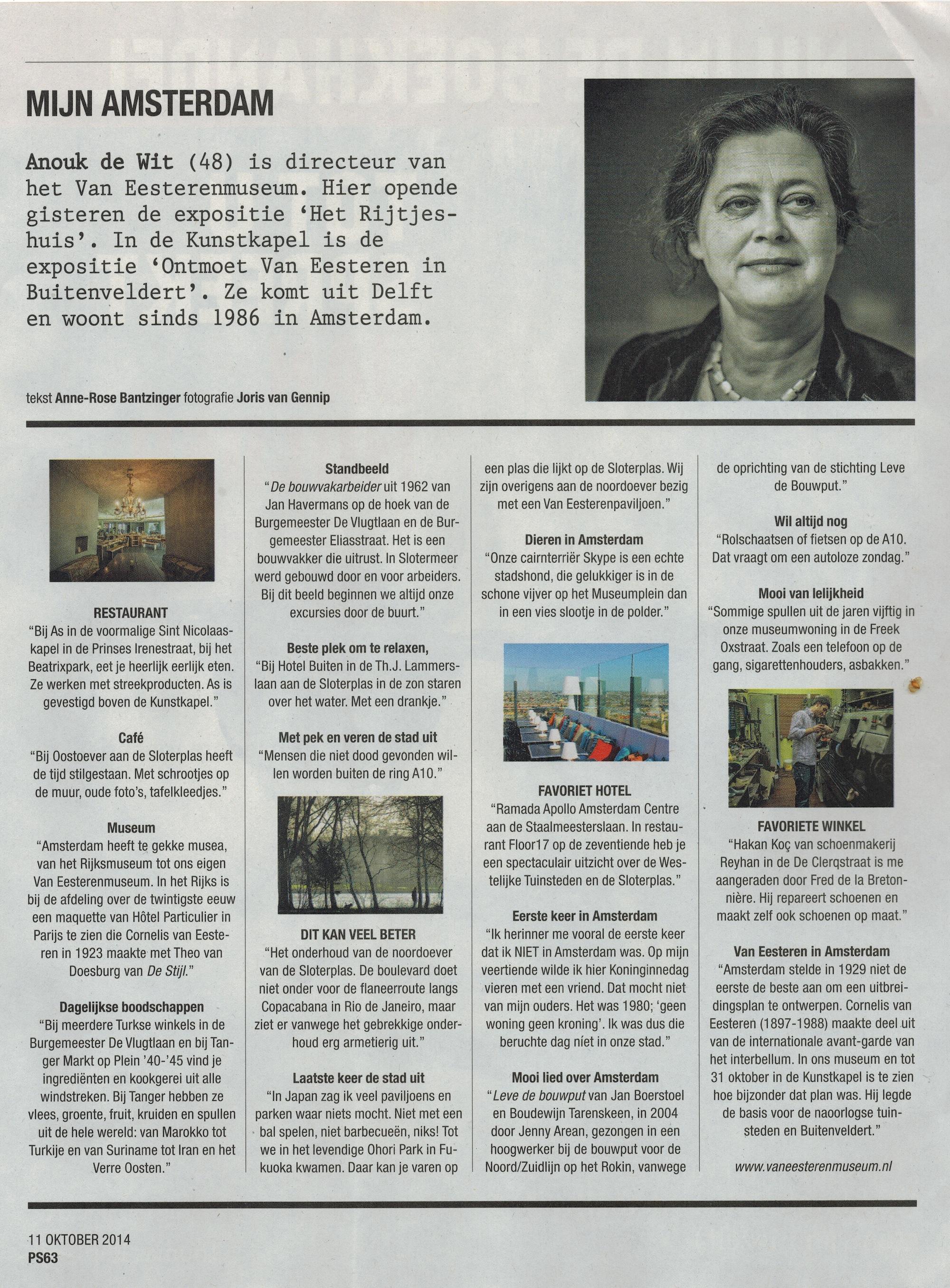 Mijn Amsterdam Anouk de Wit Het Parool 11-10-2014