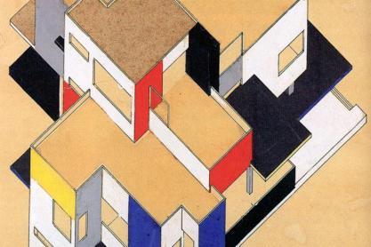 Hotel Particulier, 1923, & Counter-construction, 1924, Theo van Doesburg and Cornelis van Eesteren.