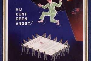 Werk geïllustreerd door Joop Löbler; reklamecampagne voor brandverzekering (1950)